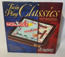 Monopoly Scrabble Twin Play Classics Wood Playing Storage Board Game Complete