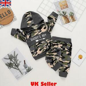 Infant Kids Baby Boys Winter Clothes Camo Hoodie Tops Pants Outfit Set Tracksuit
