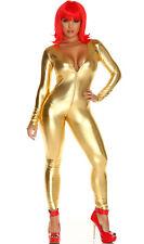 Metallic Long Sleeve Catsuit Body Suit Zip Front Deep V Shiny Costume 112001
