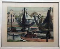 KARIN WITTE *1939  HAMBURG FISCHERBOOTE IM HAFEN - Greetsiel 62 x 76 cm