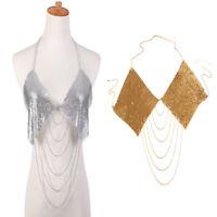 Aluminum Sequins Rhombic Tassel Necklace Bikini Bra Top Body Chain Harness