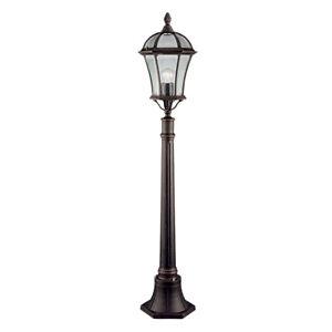 Capri Die Cast Aluminium Rustic Brown Outdoor Yard Post Lamp With Bevelled Glass