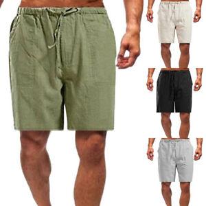 Men Comfort Short Pants Drawstring Casual Shorts Cotton Linen Loose ElasticWaist