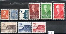 Norvège lot de 9 Timbres Anciens Neufs cote : 185 euros, départ à petit prix.