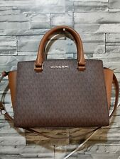 Michael kors selma medium brown w/sling handbag