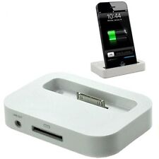 White Docking Station Charging Dock Converter Adapter Charger for iPhone 4s 4 3G