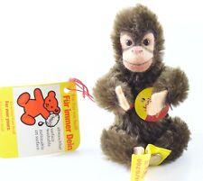 "Steiff 0020/11 Jocko The Monkey Sitting Mohair 3.5"" Tall W/ Button & Tag ca 1970"