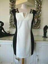CAVALLI CLASS Black & White Colour Block Dress Gold Bauble Buttons I48 16