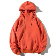 Men's Hooded Tops Loose Pullover Hoody Stand Collar Pocket Jumper Plain Casual