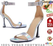Ladies Womens High Heels Silver Evening Party Heel Ankle Strap Over Sandals Size