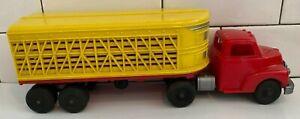 "Vintage 1950-60s Hubley Livestock Tractor Trailer Truck 12"" Long AWESOME SET!!"