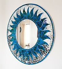 Round blue mosaic sun design wall mirror, hand made in Bali, 50cm-NEW