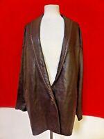 Vakko Leather Coat Jacket Lambskin Womens Burgundy sz M Medium