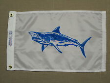 "Mako Shark Blue White Indoor Outdoor Dyed Nylon Boat Flag Grommets 12"" X 18"""