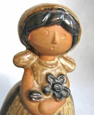 Darling Retro Girl & Flowers Ceramic Bell - like Lisa Larson- Counterpoint Japan