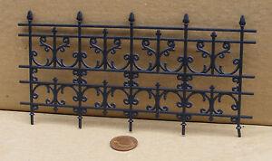 1:12 Scale Plastic Wrought Iron Black Fence Tumdee Dolls House Garden Railing 16