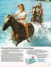 PUBLICITE  1974   TAMPAX  tampons hygiène féminine  pour sauver les bons moments