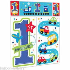 All Aboard Blue Boy's 1st Birthday Party Scene Setter Wall Decorating Kit