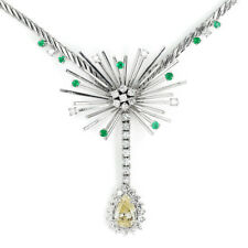 Vintage Fancy Yellow Pear Diamond Pendant Necklace with Emeralds 18K 1.85ctw