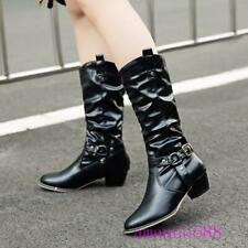 Womens Warm Winter Biker Mid-calf Pull on Boots Buckle Western Cowboy Shoes Size