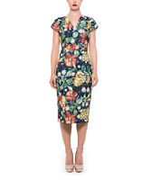 Floral Dress Size 14 Ladies Womens With Short Sleeves Sheath Pencil