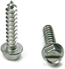 Stainless Steel Slotted Hex Indented Head Sheet Metal Screw #12 x 1-1/2, Qty 25