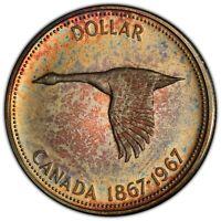 1967 CANADA GOOSE SILVER DOLLAR PCGS PL65 UNC TONED CHOICE DEEP COLOR (DR)