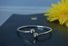 Silver Asian Thai Ethnic Plain Round Ends Design Bangle Cuff Bracelet