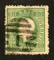 Portugal stamp #42, used, 1870-1884, 50r pale green, King Luis, SCV  $40