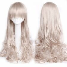 100% Thick Women Long Cosplay Wig Curly Straight Wavy Full Wigs White Purple s34