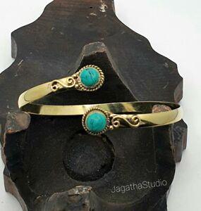 Gold Turquoise Boho Hippie Arm Cuff Bracelet Gemstones Upper Arm Bangle