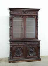 Antique French Renaissance Hunt Henry Ii Style Bookcase Cabinet