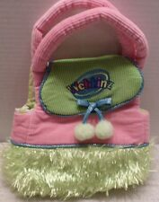 WEBKINZ Pet Carrier BAG PURSE HANDBAG TOTE Green & Pink POM POMS & FUR