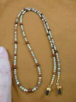 "E99-25 Green tan red Jasper gemstone 34"" long Eyeglass leash holder necklace"