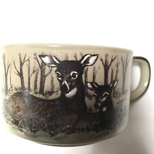 Vintage Otagiri Soup Mug Japan Deer Forest Hand Crafted Stoneware Trees Hunter