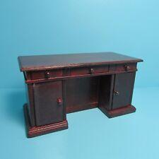 Dollhouse Miniature Beautiful Wood Kneehole Desk in Mahogany T3621