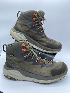 Hoka One One Kaha GTX Men's Size 10.5 Hiker Black Olive Green / Orange Gore-Tex
