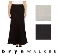 BRYN WALKER Light Linen  LONG  BIAS  SKIRT Slimming Tall  1X 2X 3X  BLACK WHITE