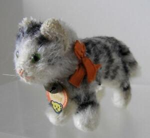 """Vintage Original Steiff Tabby CAT standing smallest size 5"""" x 3"""" Chest Tag"""