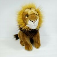 "Realistic Sitting Lion Big Cat Plush Stuffed Animal Brown White 15"" King Circo"