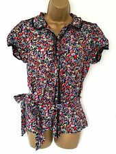 Women's Therapy silk floral short sleeved blouse, size 14