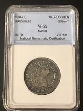 1684-HS Brandenburg 18 Groschen KM# 468 Germany VF Coin Wilhelm Silver German