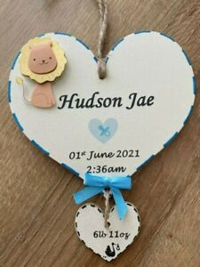 New Baby Personalised Plaque Unique Handmade Wooden Gift Boy Girl Nursery Birth