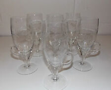 IRISH COFFEE CUPS – Set of 6 TALL Pedestal ETCHEDClear Glass Cups VERY THIN-Mint