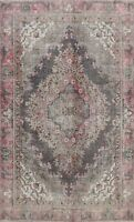 Antique Geometric Charcoal/Pink Distressed Tebriz Area Rug Hand-Knotted Wool 6x9