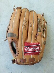 """Rawlings Boys Brown Leather Left Handed Thrower Glove Size 10"""" Preowned"""