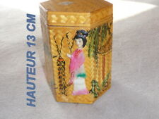 POT A THE en BAMBOU tréssé - paint main fabriqué en ASIE
