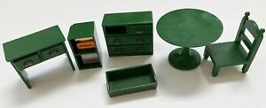 Sylvanian Families Vintage Furniture set green drawers desk table chair bookcase