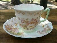 Old Royal Bone China Demitasse Tea Cup & Saucer Wild Roses England 1930's