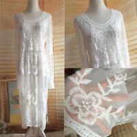 Sexy Women Embroidery Dress Net Yarn Lace Crochet Smock Perspective Long Dresses